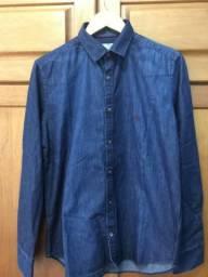 Camisa Jeans Manga Longa Masculina Marca Llaef