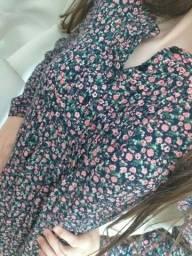 Camisa / vestido florido rosa. 12/13 anos Tecido fino