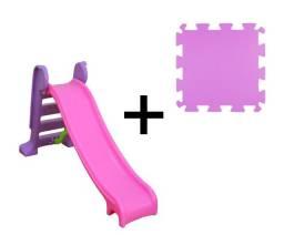 Escorregador Rosa Infantil 3 degraus + Tatame em eva