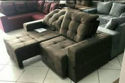 Título do anúncio: Sofá sem Pillow, retrátil e reclinável NOVO | Modelo Débora