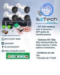 Kit DVR Intelbras 4 câmeras e APP GRÁTIS