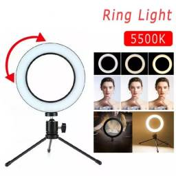 Ring Light Led Mesa Iluminador Pequena Tripé 6 Polegada 16cm