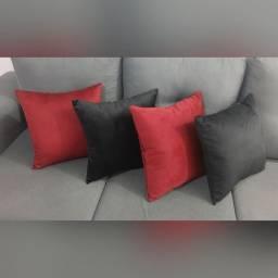 Almofadas em Veludo - Preto / Vermelho