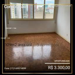 Apartamento para Locação em São Paulo, Consolação, 4 dormitórios, 3 banheiros, 1 vaga