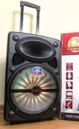 Caixa de Som Super Bass 2000w de Potência Bluetooth Microfone e Controle!