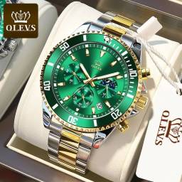 Título do anúncio: Relógio Lige 8924 Gold Grenn Fases da lua