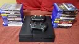 Playstation 4 + 2 controles + 25 jogos originais