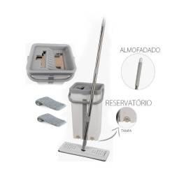 Mop Rodo + Balde 10 Litros Max Mop Flat + 1 Refil Novo SmartyZ