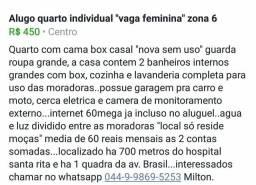 """Quartos mobiliados """"vaga feminina"""""""
