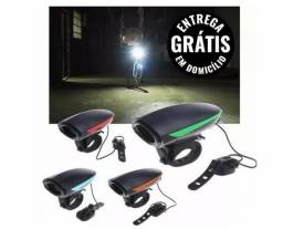 Lanterna bicicleta com sirene buzina 4 tons - nova - entrega gratis