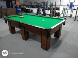 Mesa Charme de Bilhar e Jantar Cor Imbuia Tecido Verde Mod. RRWQ0562