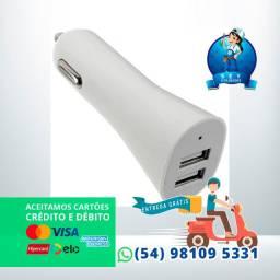 Carregador Veicular 2.1A C/2 Entradas USB Alta qualidade e Carga rápida e segura