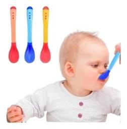 Colher Infantil Termo sensível - Ponta de Silicone (Cor Azul)