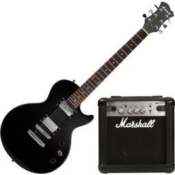 Kit Guitarra Marshall Mgap-b Mg10cf Les Paul Preta Com Capa