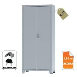 Título do anúncio: Armário de Aço c/ 02 portas reforçado ? (PA ? 90) ? 1,98×0,90×0,40m ? Chapa # 22