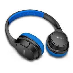 Fone de Ouvido Philips Sport BT Headphone Preto com Azul - TASH402BL/00<br><br>