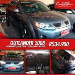 Mitsubishi outlander 2008 4x4 couro top de linha - 2008