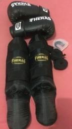 Kit Boxe Muay Thai Fheras Luva, Bandagem, Bucal e Caneleira