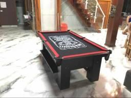 Mesa de Bilhar Tecido Preto Bordas Vermelhas Personalizada Modelo JDW8456