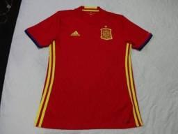 c954e8d2337f3 Camisa Espanha home Adidas 2016 2018 tamanho P