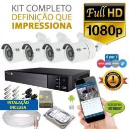 Super Promoção Kit 4 Câmeras Fullhd Dvr Nano Led's Cftv (Brinde Microfone Espião)