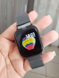 Título do anúncio: Smartwatch P8 Pulseira Metal Preto Grafite Foto na Tela Notificação Top Completo