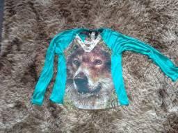 Blusa de frio com estampa de lobo