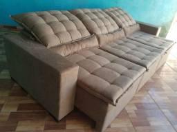 Sofá de alto padrão retrátil e reclinável Suede 3 módulo