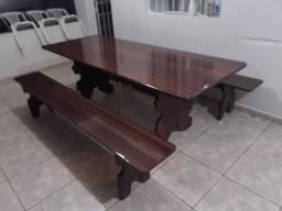 Conjunto de mesa de ardósia amadeirado