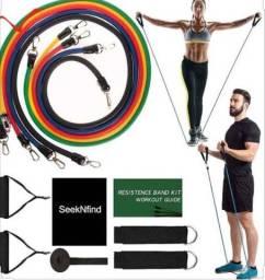 Kit Tubing Elástico 11 Itens Treinamento Funcional Pilates A