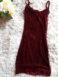 Vestido camurça vinho