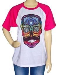 Título do anúncio: Camiseta Caveira Mexicana Raglan Manga Curta