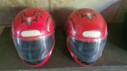Título do anúncio: Vendo 2 capacetes vermelhos