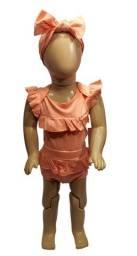 Título do anúncio: Conjunto Infantil Feminino Laranja De 03 A 06 Meses