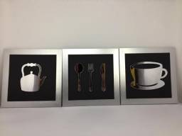 Kit 4 Quadros decorativos cozinha restaurante em MDF 12mm
