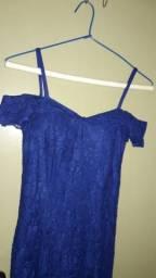 Vestido Madrinha azul royal Renda 3 panos