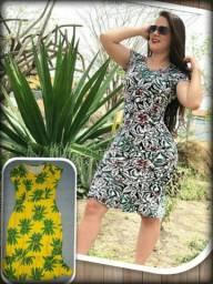 Vestido midi em suplex estampado, amarelo com coqueiros verdes! tam. Único! #FAÇOENTREGA!