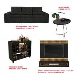 Kit- Sofá Retrátil e Reclinável+ Painel Home+Mesa Centro+ Aparador