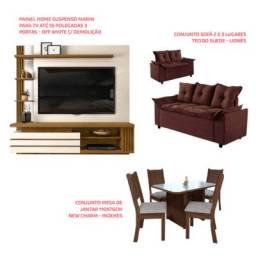 Kit -Painel Home Suspenso para Tv até 55+ Sofá +Mesa de Jantar