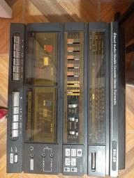 Vitrola radio com toca fitas e discos