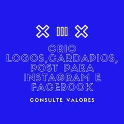 Crio logos, story/feed para instagram e facebook