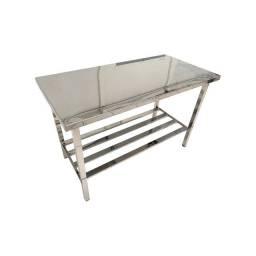 Mesa Bancada Reforçada Aço Inox 140 X 70 X 90 Cm Industrial Qualidade Promoção
