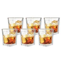 Jogo De Copos Para Whisky Vidro Conjunto Kit 6 Peças Original Line Novo