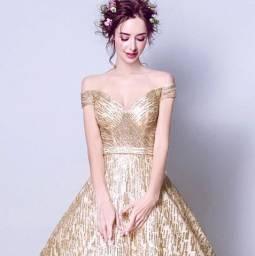 Promoção Vestido Dourado Noiva Debutante