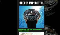 Relógio Solar Dual time Power Military LED Sports Watch