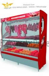 Vitrine açougue 2m, expositor refrigerado vertical para carnes, balcao refrigerado