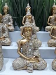 Estátua Buda tibetano sentado dourado com stress 12x8 cm imperdível