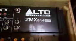 Mesa de Som 24 canais Alto ZMX 244FX usb semi nova com case