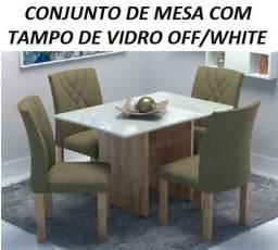 Super Oferta de Conjunto de Mesa Com Tampo de Vidro Off/White(Nova)Com Otimo Preço 1590,0