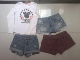 Título do anúncio: Shorts e camisa meia estação 10 anos menina